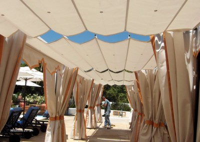 Awning open  with drapes